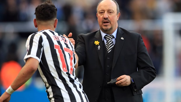 Ayoze Perez and Rafael Benitez Newcastle United