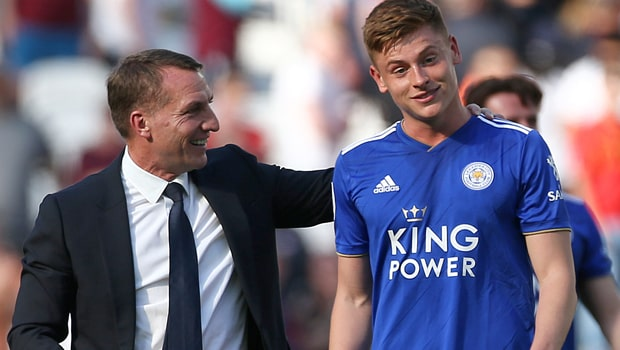 Brendan Rodgers and Harvey Barnes Leicester City